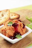 Appetizer spicy pate with cranberry sauce