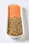 Healthy ingredient orange and green lentil
