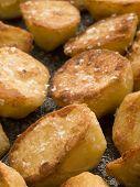 Tray Of Roast Potatoes With Sea Salt