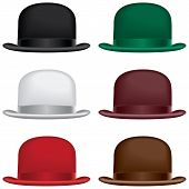 stock photo of bowler hat  - A bowler or derby hat selection in black gray red green burgundy and brown colors - JPG