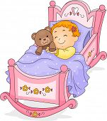 picture of goodnight  - Happy Baby Girl Sleeping on a Cradle cuddling a Teddy Bear - JPG