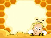 stock photo of beehive  - Smiling Baby Girl in Bee Costume on Beehive Frame - JPG