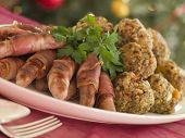 Plate Of Pigs In Blankets And Chestnut Stuffing Balls