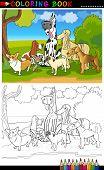 Dibujos animados de perros de pura raza de libro para colorear