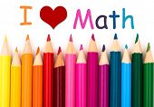 stock photo of math  - I Love Math A pencil crayon border isolated on white background with words I Love Math - JPG