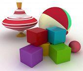 Ilustración de render 3D de juguetes infantiles. Parte superior de la bola, bloques y spinning
