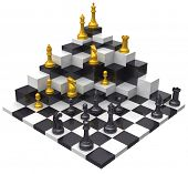 Domination of opponent to win 3D challenge chess game