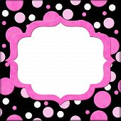 Pink And Black Polka Dot Background For Your Message Or Invitation