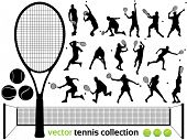 Tennis Players Silhouettes - Vector tennis collection.  (High Detail!) Check out my portfolio for ot