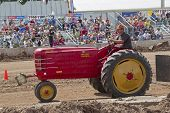 Red Massey Harris Tractor Pulling Side View