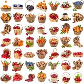 Tasty useful nutritional vegetables, fruits, berries in baskets , collection set , isolated on white background