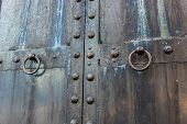 Massive Old Black Weathered Steel Door With Skeleton Key Lock