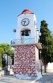 The clock tower by the church of Agios Nikolaos in Skiathos Town (Chora) on the Greek island of Skia