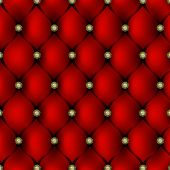Red Leather Upholstery With Gold Button Pattern Background