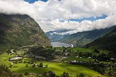 Geiranger fjord, Norway with cruise ship