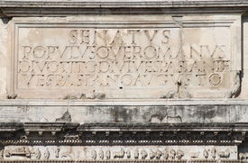 pic of spqr  - Main inscription in the Arch of Titus - JPG