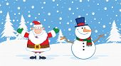 Santa Claus And Snowman With Open Arms For Hugging