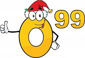 Price Tag Number 0 99 With Santa Hat Cartoon Character Giving A Thumb Up