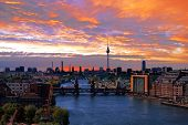 foto of underground water  - berlin skyline aerial view with river spree and oberbaumbruecke - JPG
