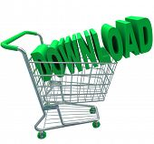 A shopping cart with the word Download in it to illustrate purchasing online files or documents and