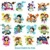 stock photo of  habits  - easy to edit vector illustration of good habits chart - JPG
