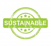 Green sustainable stamp with stars isolated on a white background.