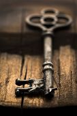 Skeleton Key On Wood Selective Focus