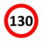 130 speed limit sign