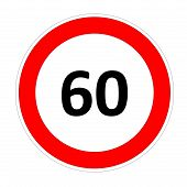 60 speed limit sign