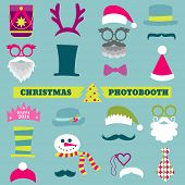 stock photo of moustache  - Christmas Retro Party set  - JPG