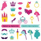 stock photo of mustache  - Prince and Princess Party set  - JPG
