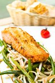 Fresh Salmon with lemon - A seafood salad with smoked salmon