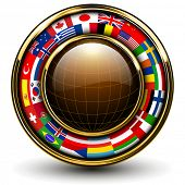 Globe with flags around, 3D vector illustration.