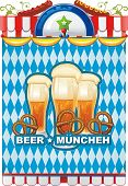 Beautiful Oktoberfest background with beer and pretzel. Vector illustration