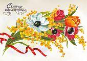 Spring Beautiful floral frame with mimosa. Stylish vintage background. Retro decor illustration