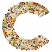 Food Art C Lowercase Shape Collage Abstract