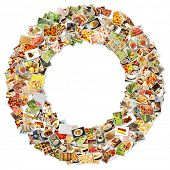 Food Art O Lowercase Shape Collage Abstract