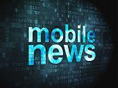 News concept: Mobile News on digital background