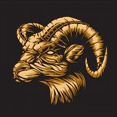 Ram with a black background representing Aries zodiac sign or just a sharp vector graphic for genera