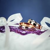 Pair Of Gold Wedding Rings With Diamond