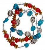Necklace From Turquoise, Jade And Carved Metal