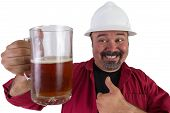 Happy Beer Drinking Hard Hat Worker