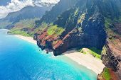 picture of pacific islands  - View on Na Pali Coast on Kauai island on Hawaii in a sunny day - JPG