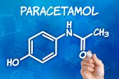 Hand with pen drawing the chemical formula of paracetamol