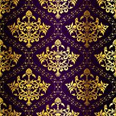 Gold-on-purple Seamless Indian Floral Pattern