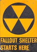 stock photo of disaster preparedness  - fallout shelter sign - JPG