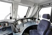 Interior of a train operator's cab