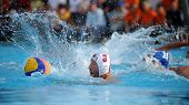 KAPOSVAR, HUNGARY - SEPTEMBER 15: Oliver Kovacs (3) in action at a Hungarian championship water-polo