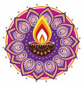 image of deepavali  - Indian style new year oil lamp pattern design - JPG