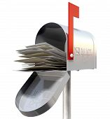 stock photo of postbox  - An perspective view of an open old school retro tin mailbox bulging with a pile of letters on an isolated background - JPG